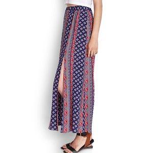 Printed slit maxi skirt